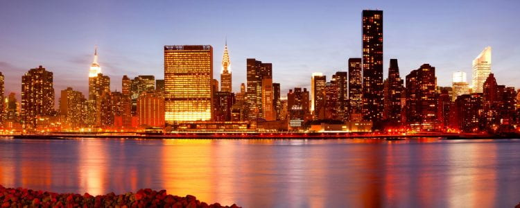 Skyline of buildings at Midtown Manhattan, New York City, NY, USA