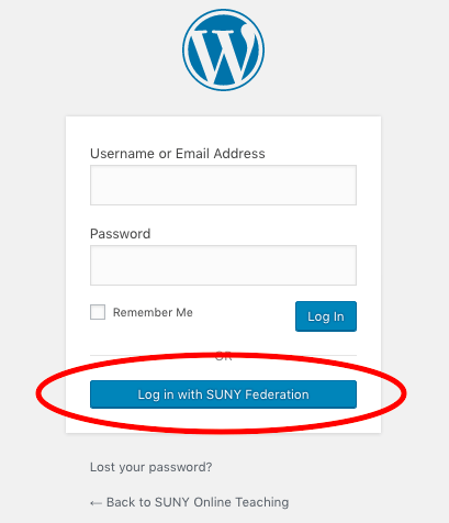 Graphic showing the link to use the SUNY Federated authentication login.